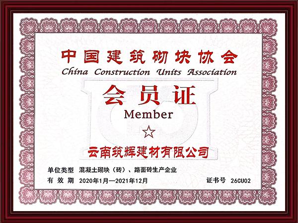 中国建筑砌块协会会员证